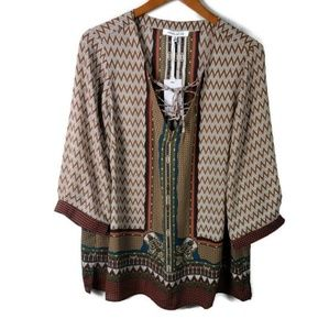 Tribal Ethnic Rose & Olive Chiffon Top Plus Tie up